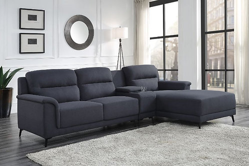 All WALCHER Gray Linen Storage Sectional Sofa w/Cup Holders