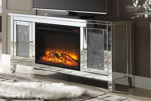 Noralie All Mirrored TV Stand with LED Fireplace