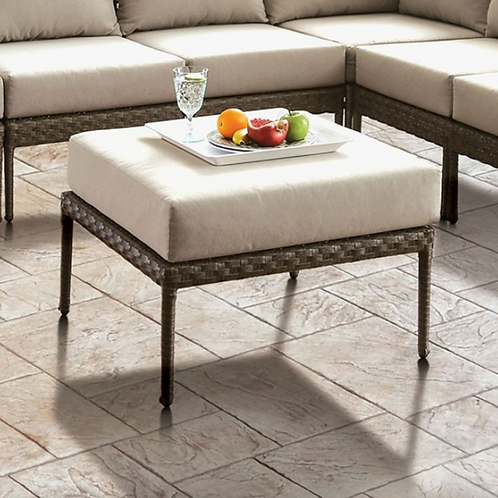 ALEISHA Imprad Gray, Beige Contemporary Wicker Patio Ottoman