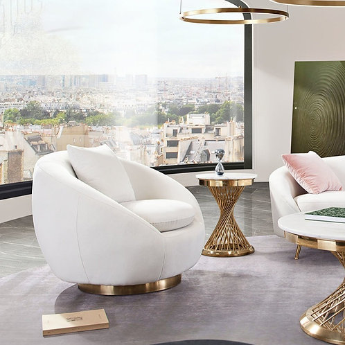 Celine Dream Light Cream Velvet / Gold Legs Chair