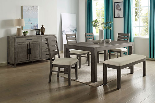 CLARY Imprad Gray Wood Grain Finish Dining Table