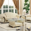Thumbnail: Apolo Ivory Classic Glass/Leather Coffee Table