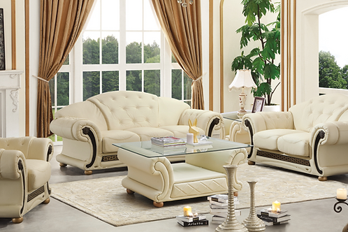 Apolo Ivory Classic Glass/Leather Coffee Table