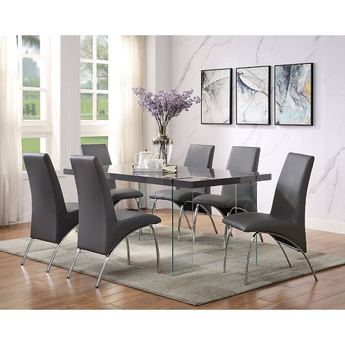 Noland All Dining Table Gray High Gloss & Clear Glass