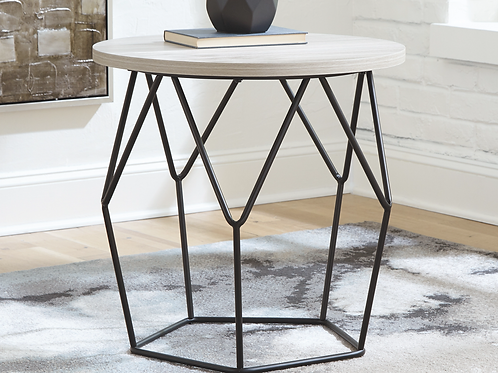 Waylowe Angel Contemporary Light Brown Round End Table
