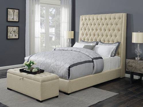 Camille Cali Button Tufted Bed Cream