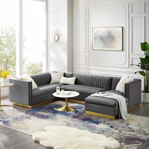 Sanguine 3 Piece Mod Velvet Sectional Sofa Set in Gray