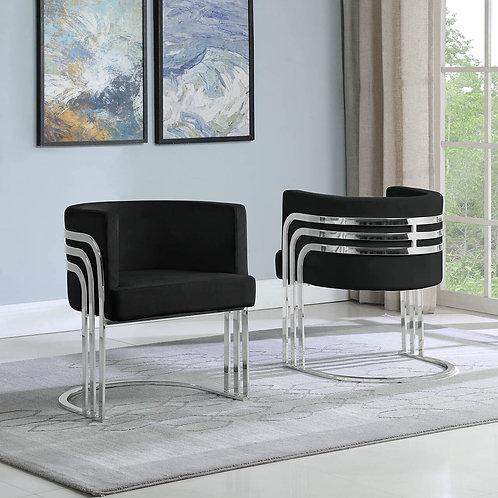 AC226 BestQ Black/Silver Velvet Chair