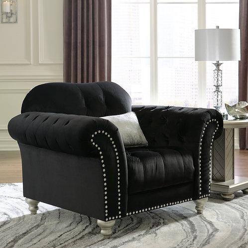 Angel Harriotte Traditional Chesterfield Black Velvet Tufted Chair w/Pillow
