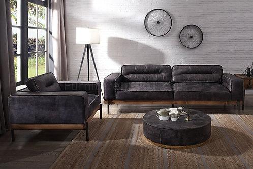All SILCHESTER ANTIQUE EBONY TOP GRAIN LEATHER & LIGHT OAK FINISH Oversized Sofa