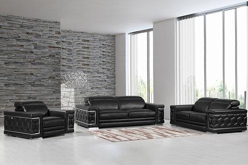 692 Geo Black Italian Leather Sofa