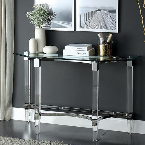 BEAUMARIS Imprad Acrylic Clear Chrome Glass Contemporary Sofa Table