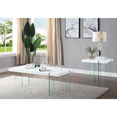 Noland All Coffee Table  White High Gloss & Clear Glass