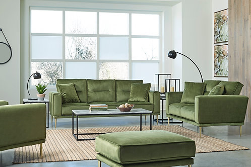 Marcleary Angel Green Velvet Sofa (Gold Legs)