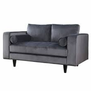 Heather All Grey Velvet Loveseat