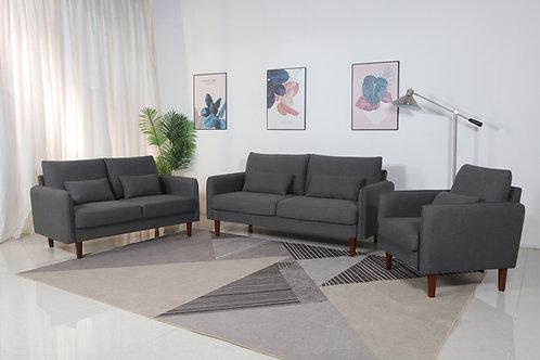 8151 Mg Dark Gray Linen Sofa+Loveseat+Chair
