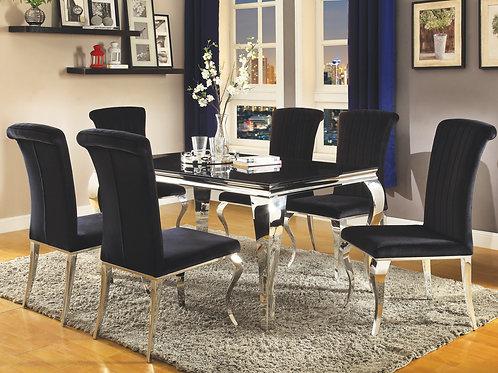 Carone Cali Rectangular Dining Table Chrome And Black