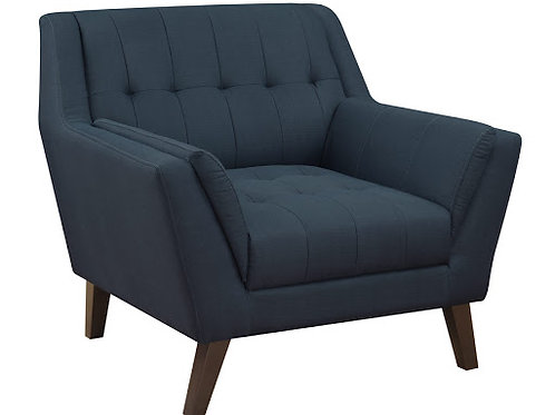 Emeral Binetti Mid-Century Navy Linen Tufted Chair