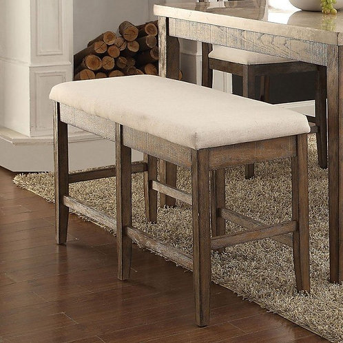 Claudia All Counter Height Bench Beige Linen & Salvage Brown