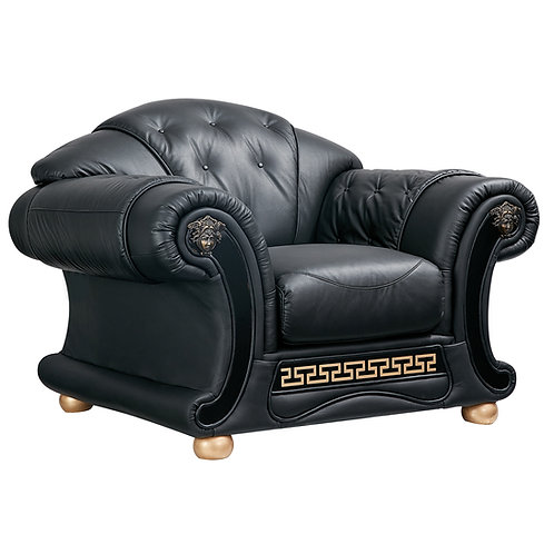 Apolo Black Classic Shiny Crocodile Embossed Leather Chair