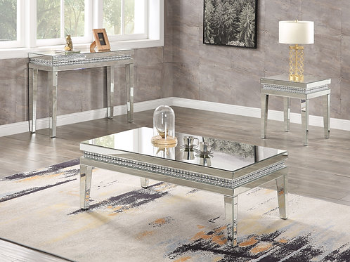 All  Lotus Coffee Table - 88050 - Glam - Mirror, Faux Crystals