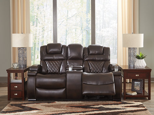 Warnerton Chocolate Angel Power Reclining Loveseat w/Console & adj Headrest