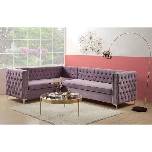 All Transitional Purple Velvet Rhett Sectional Sofa - 55500