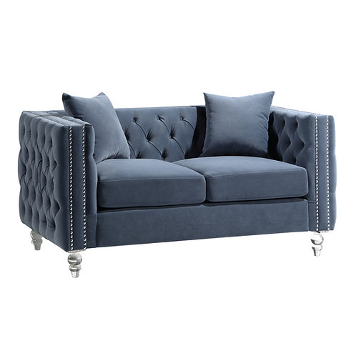 Henry 9349DBU Glam Blue Velvet Loveseat with Crystal Legs/Nailheads