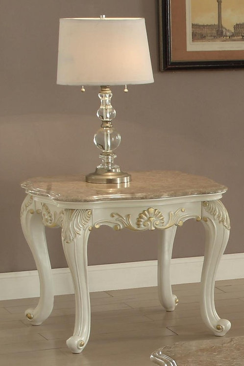 All Chantelle End Table w/Marble Top Marble & Pearl White