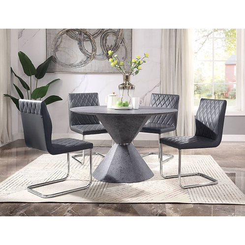 Ansonia All Dining Table Modern - Veneer (Paper), MDF - Faux Concrete