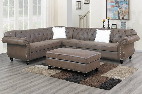 4-PCS Sectional Dark Coffee Port 6437