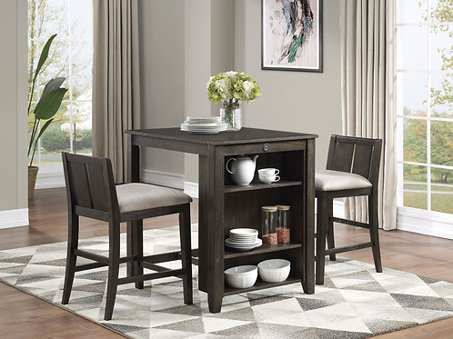 Daye Henry 3-Piece Pack Counter Height Set Brown Cherry