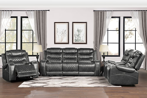 Putnam Henry Grey Power Double Reclining Sofa with Drop-Down Cup Holders and USB