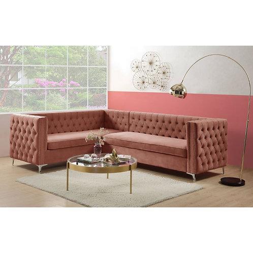 All Transitional Dusty Pink Velvet Rhett Sectional Sofa - 55505