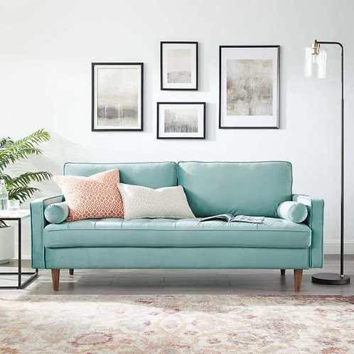 Valour Mod Performance Velvet Sofa in Mint