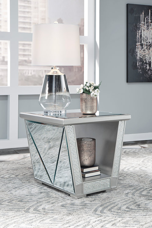 Fanmory Angel Contemporary Silver Finish Square End Table