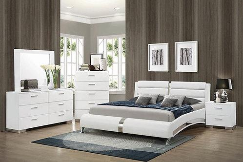 Upholstered Platform Bed Glossy White 300345 Cali