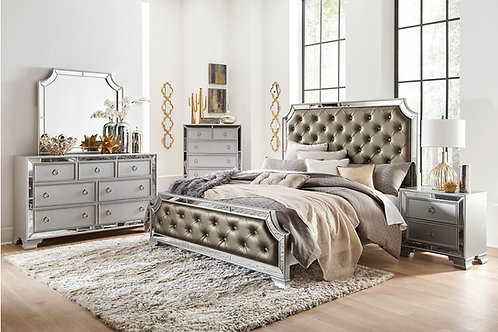 Avondale Henry Silver-Gray Tufted Bed