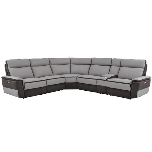 Henry Laertes Taupe Grain Leather Reclining Sectional