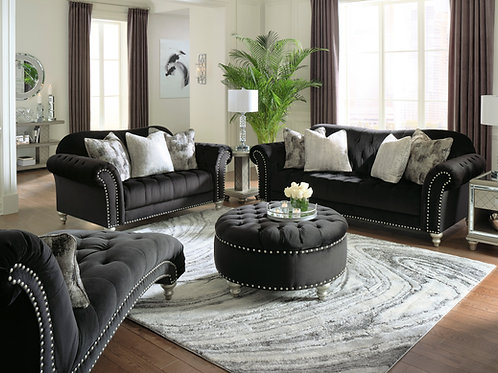 Angel Harriotte Traditional Chesterfield Black Velvet Tufted Sofa w/Pillows