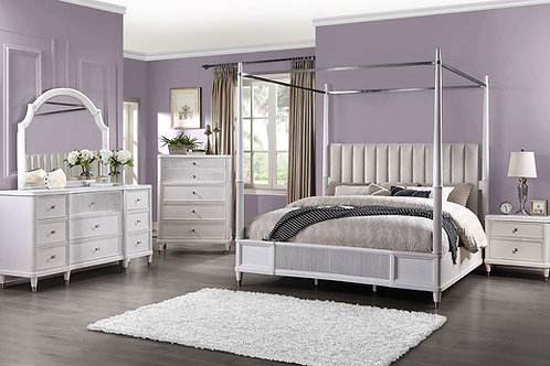 Celestia All Off White Queen Poster Bed