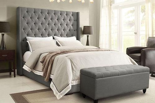 Dream Park Avenue Tufted Plush Gray Linen Bed