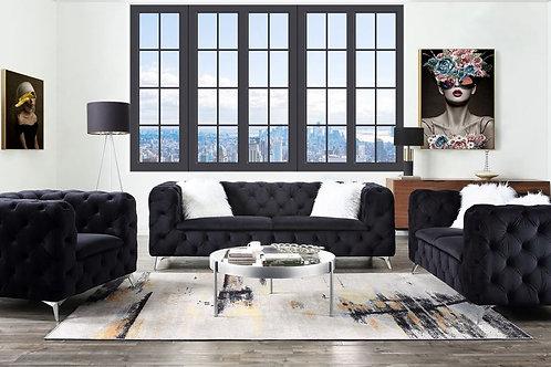 All PHIFINA-55920 Black Velvet Tufted Sofa