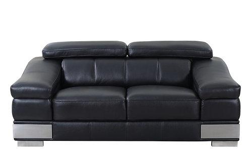 Geo 415 Italian Leather Black Loveseat