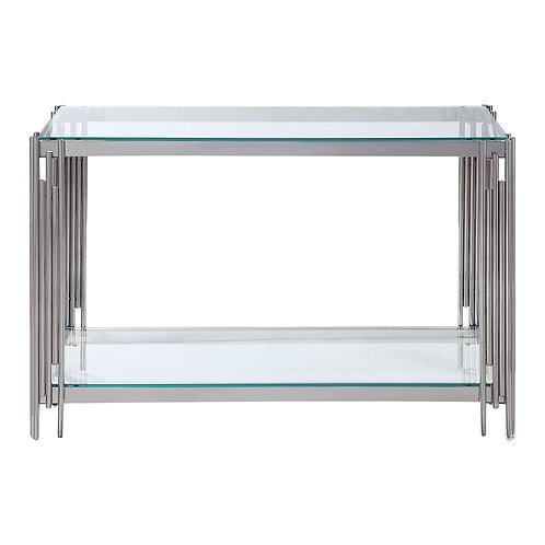 Henry Porfirio Glass Top/Chrome Legs Sofa Table