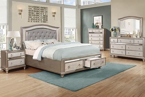 Cali Blingame Metallic Platinum Bed w/ Storage