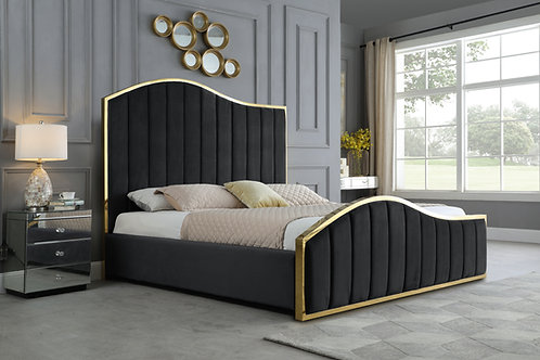 Best B63 Black Velvet Fabric Platform Bed with Gold Accents