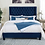 Thumbnail: Imprad RYLEIGH Transitional Navy Velvet-like Fabric Bed