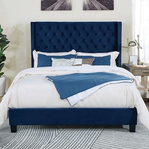 Imprad RYLEIGH Transitional Navy Velvet-like Fabric Bed