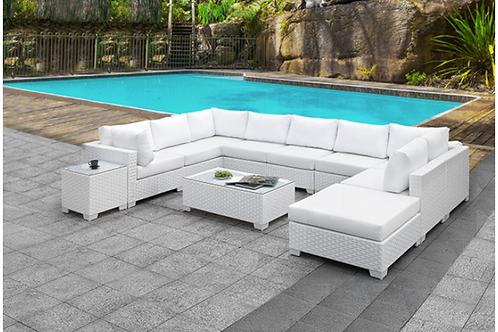 SOMANI Imprad Contemporary White Fabric/Wicker U-Shaped Sectional + Coffee Table